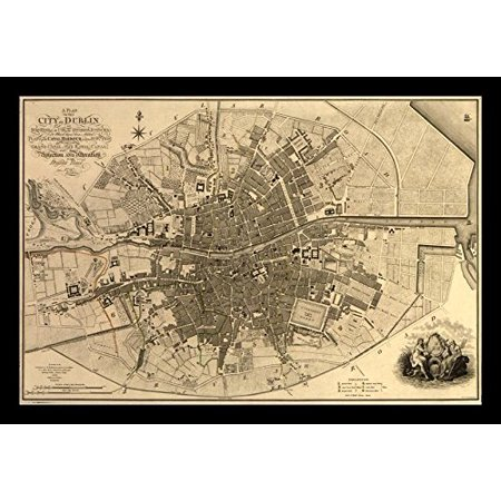 Framed Map Of The City Of Dublin 1797 18X12 Vintage Historic Ireland Art Print Poster