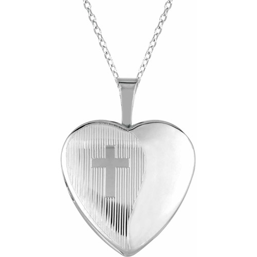 Sterling Silver Heart-Shaped with Cross Locket