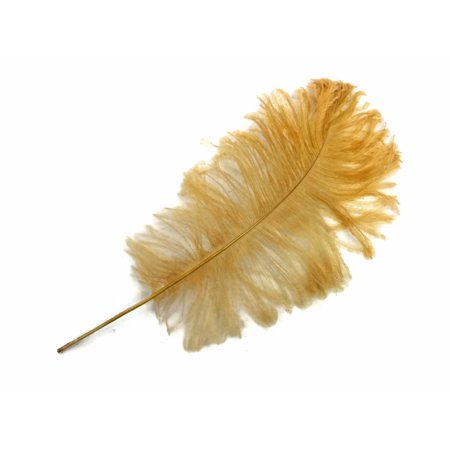 10 Pieces - Antique Gold Ostrich Tail Feathers - Fake Ostrich Feathers