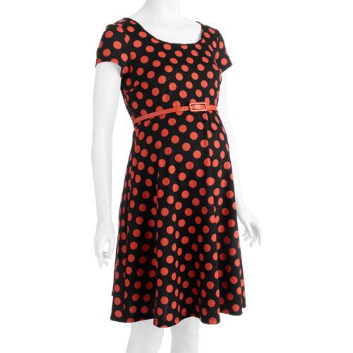 Planet Motherhood Maternity Belted Polka Dot Knit Dress