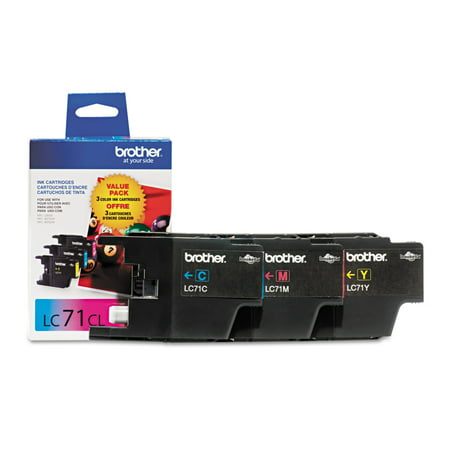 Brother Genuine Standard Yield Color Ink Cartridges, LC713PKS, Replacement 3 Pack of Color Ink, Includes 1 Cartridge Each of Cyan, Magenta & Yellow, Page Yield Up To 300 Pages/Cartridge, LC71