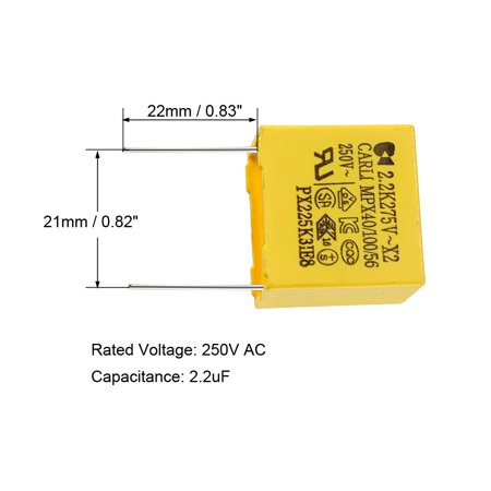 Safety Capacitors Polypropylene Film 2.2uF 275VAC X2 MKP 20 Pcs - image 2 of 5