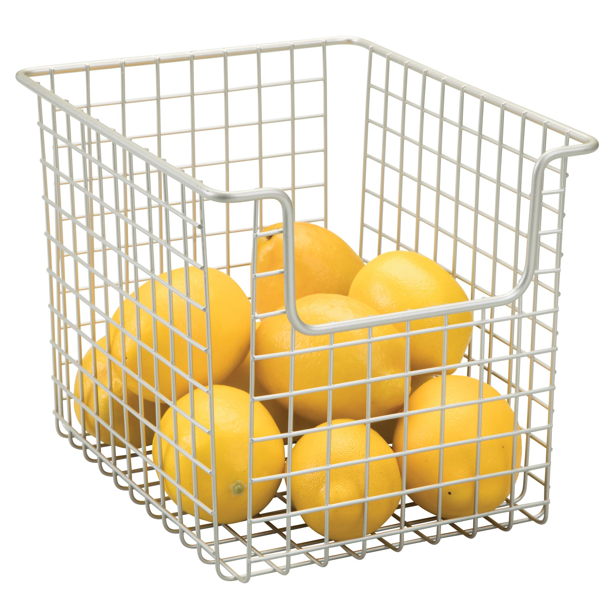 InterDesign Classico Open Wire Small Storage Basket, Matte Satin