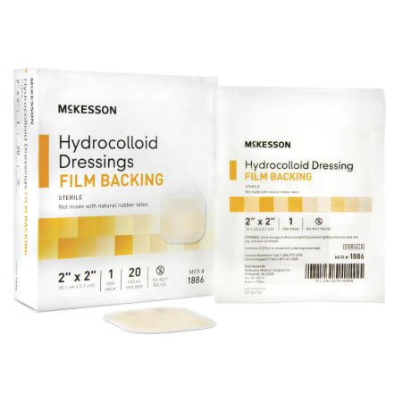 McKesson Hydrocolloid Dressing 2 X 2 Inch Square, Sterile, Box of