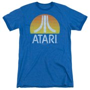 Atari Sunrise Eroded Mens Adult Heather Ringer Shirt Royal