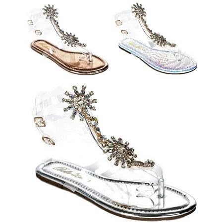 - Women Gladiator Lucite Clear Transparent Rhinestone Bling Flats Sandal Silver Flong-1