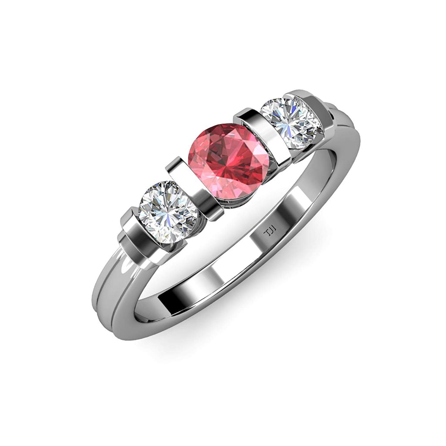 Pink Tourmaline and Diamond (SI2-I1, G-H) Bar Set Three Stone Ring 1.17 ct tw in 14K White Gold.size 6.5 by TriJewels