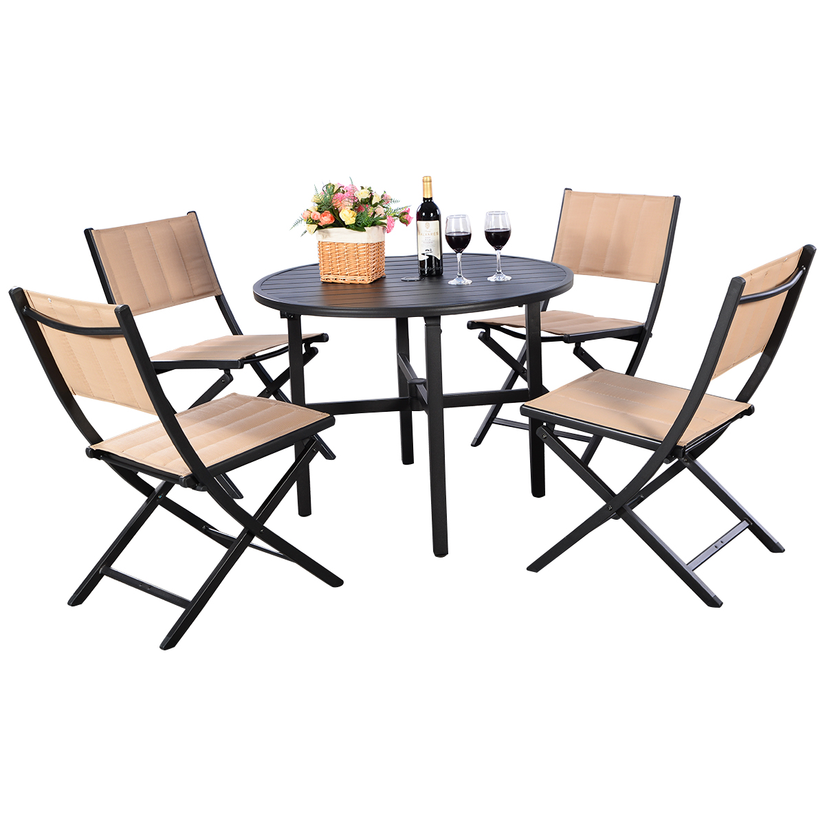 The Backyard Bistro costway 5 pcs patio outdoor folding chairs table furniture set