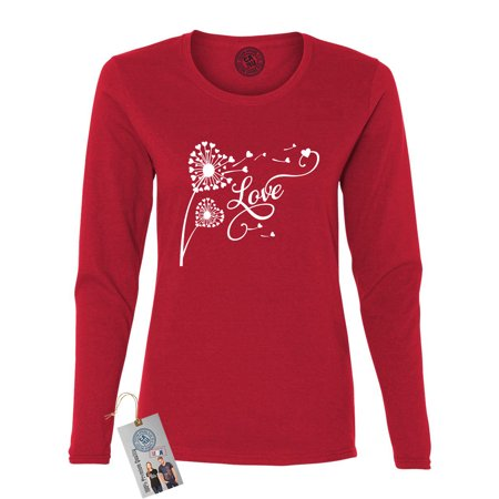 Valentines Day Love Dandelion Shirt  Womens Long Sleeve T Shirt ()