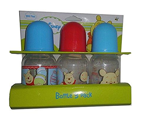 Disney Pooh Plastic Baby Bottles Set - 1 Set Includes 3 Bottles - Each 5oz (Any)