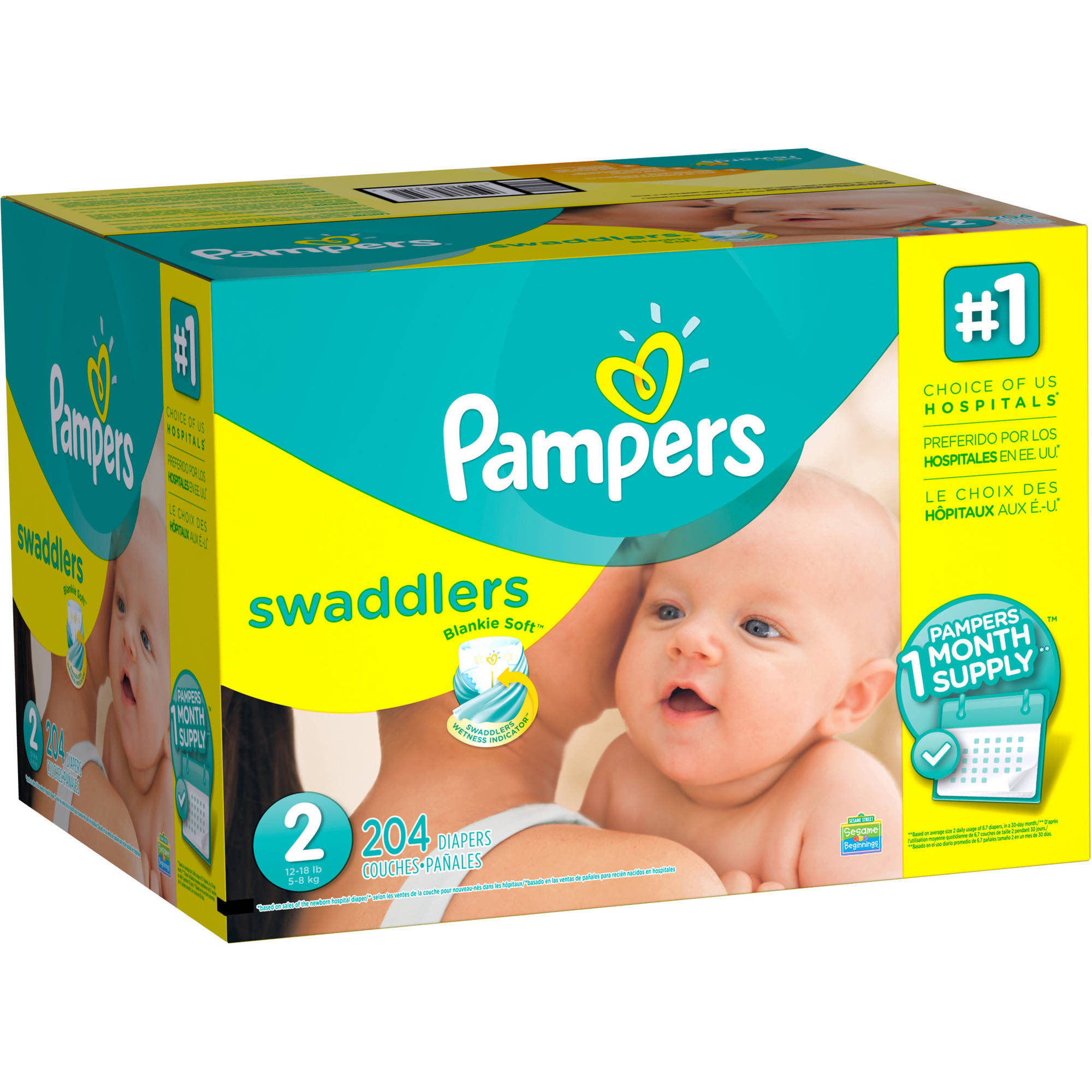 **Available in sizes NB–2. * Pampers® Blankie Soft™ comfort and protection * Pampers Swaddlers diapers are the #1 Choice of Hospitals (based on sales of the newborn hospital diaper) * Swaddlers wetness indicator tells you when your baby might need a change * Our unique Absorb Away Liner™ pulls wetness and mess away from your baby's skin.