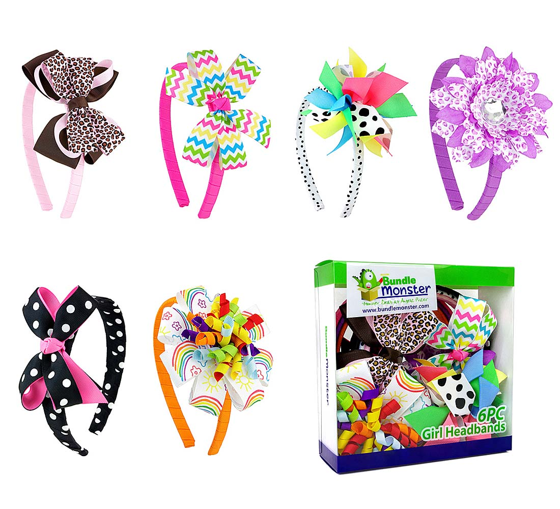 Bundle Monster Interchangeable 3in1 Ribbon Bow Baby Hair Clip Headband Combo Set