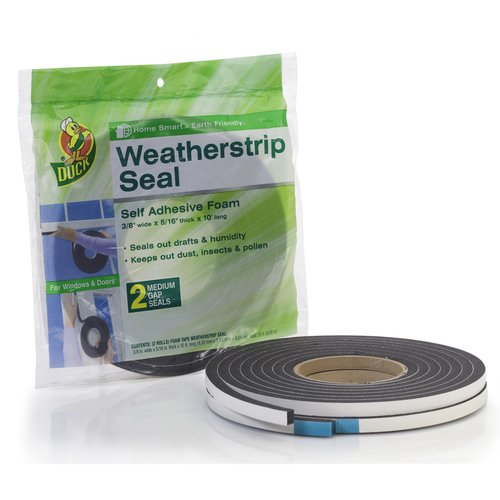 "Duck Brand PVC Foam Weatherstrip Seal, Medium, 2pk, 3/8"" x 5/16"" x 10'"