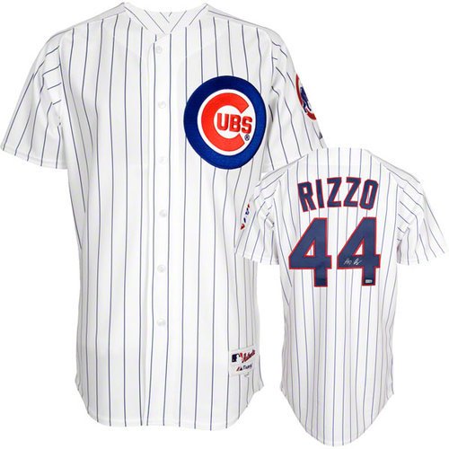 MLB - Anthony Rizzo Autographed Jersey | Details: Chicago Cubs, Majestic Replica, Pinstripe