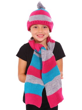 Winter Warm Knitted Set Stripe Toddler Kids Beanie Scarf 2 Pcs Set
