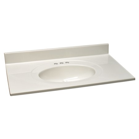 Entertainment Centerset (Design House 551077 Cultured Marble Single Bowl Centerset Vanity Top 37x19, White on White )