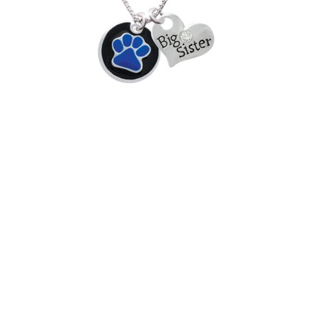 3/4'' Royal Blue Paw in Black Circle Big Sister Heart Necklace, 18