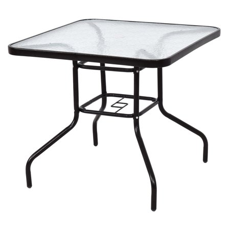 Costway 32 Patio Square Table Steel Frame Dining Furniture Gl Top