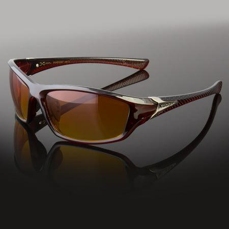 New Men HD Vision Sunglasses Sport Wrap Around Orange Driving Eyewear