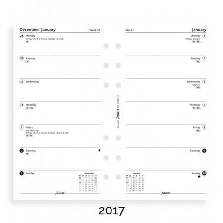 - Filofax - Paper Refills - Personal - Week Per Page - English 2017