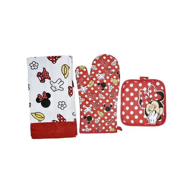 Minnie Mouse Polka Dot 3pc Kitchen Set Oven Mitt Pot Holder Dish Towel Red Walmart Com Walmart Com