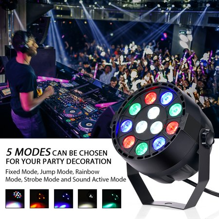 HERCHR LED Stage Light, 12 LED Stage Light with RGBW Color, DMX, Strobe and Sound Active Mode, LED Par (39064ble 962 Twelve Light)