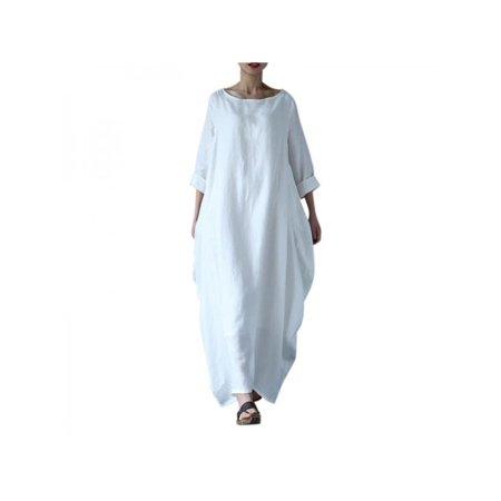 Lavaport Plus Size Women Causal Soild Kaftan Maxi Dress Long Shirt Dres
