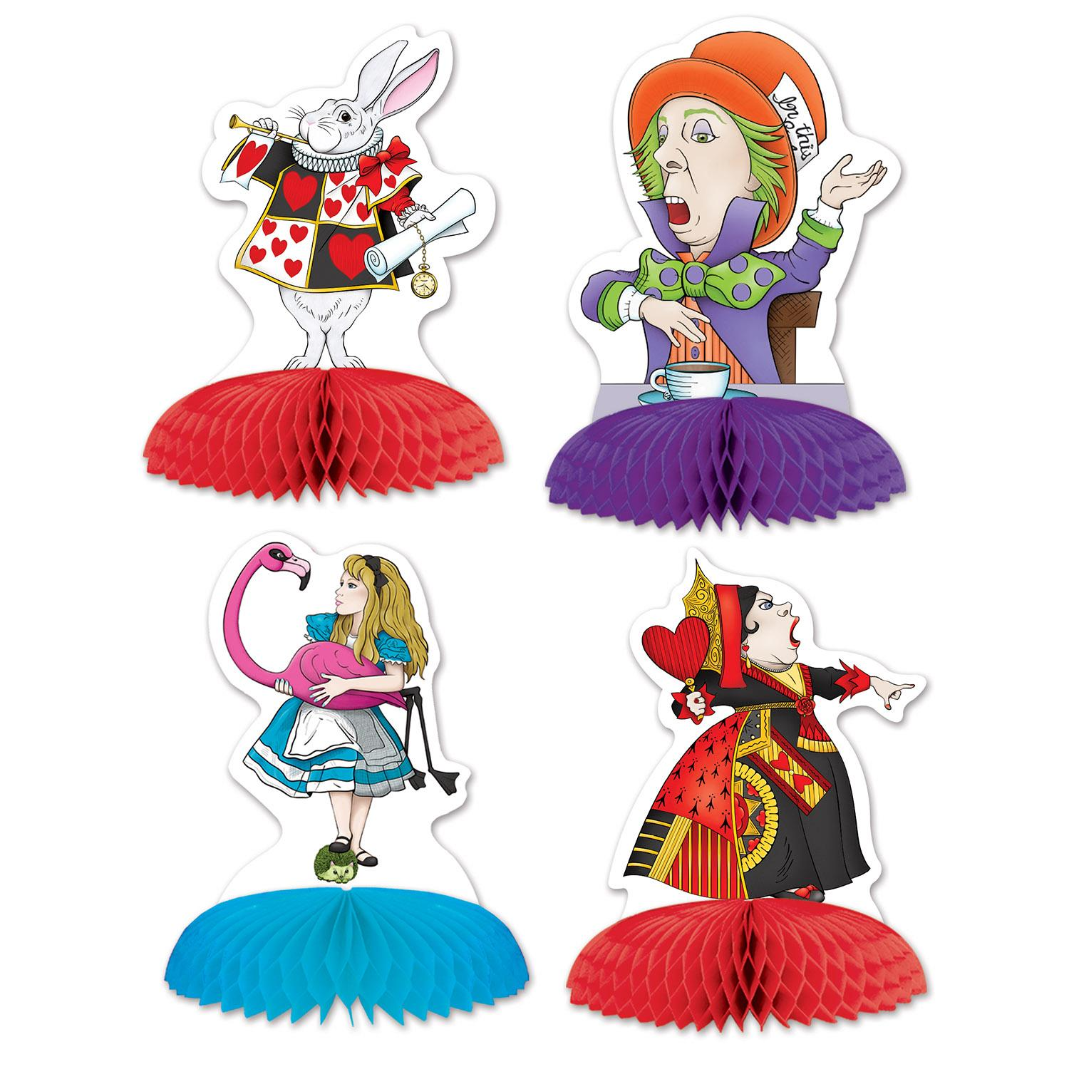 Club Pack of 48 Alice In Wonderland Characters Party Table Mini Centerpieces 5""