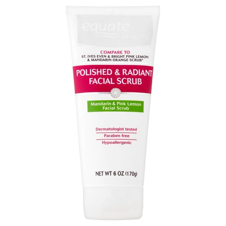 Equate Beauty Polished & Radiant Mandarin & Pink Lemon Facial Scrub, 6 oz