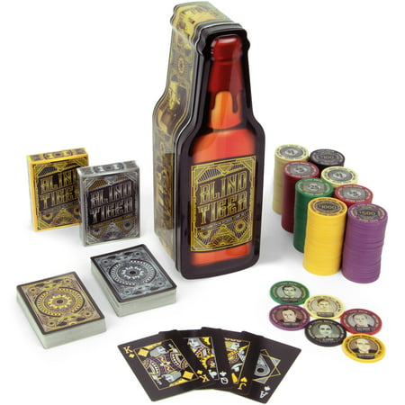 Brybelly Blind Tiger Poker Chip Tin, 200 Chip Gift Set, 2 Decks Speakeasy Theme Cards