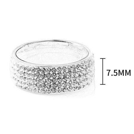 Fashionable five rows drill dimanond shiny stainless steel rings. - image 3 of 6