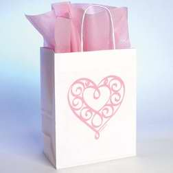 Bob Siemon Designs - Bob Siemon Designs 58073 Gift Bag Heart With Tissue Large White
