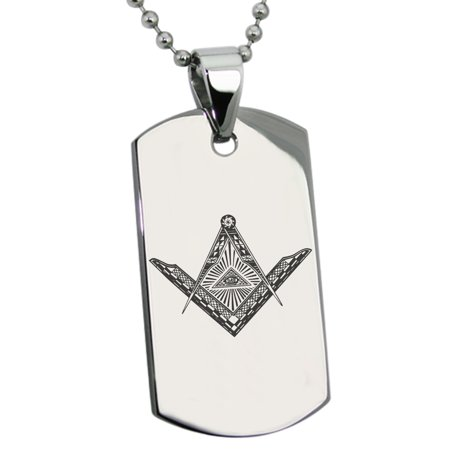 b6b770a843423 Stainless Steel Freemasons Masonic Eye of Providence Engraved Dog Tag  Pendant Necklace