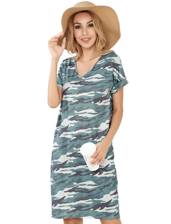 NEW Women Loose Sleeveless Ladies Beach Dress Printed Dinosaur Tunic Tank Dress