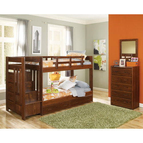 Chelsea Home Twin over Twin Standard Bunk Bed with Reversible Stair and Underbed Storage