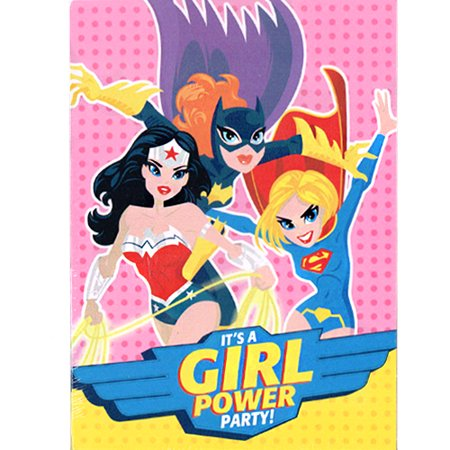 Justice League Girls Invitations and Thank You Notes (8ct ea.) - Justice League Girl