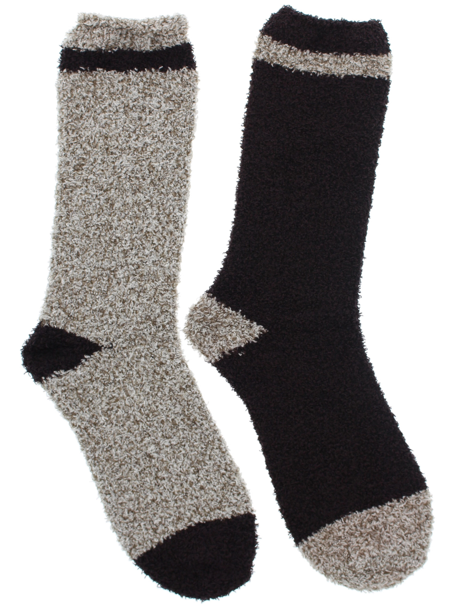 Beverly Hills Polo Club Men's Thick Fuzzy Slipper Socks (2Pr), Brown