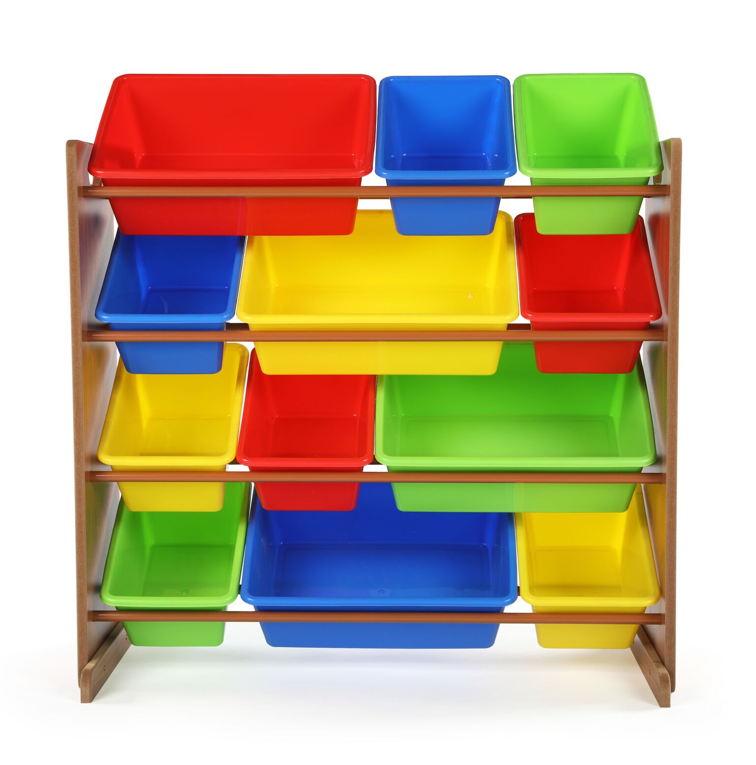 Highlight Collection Kids Toy Storage Organizer with 12 Plastic Bins, Dark Pine & Primary