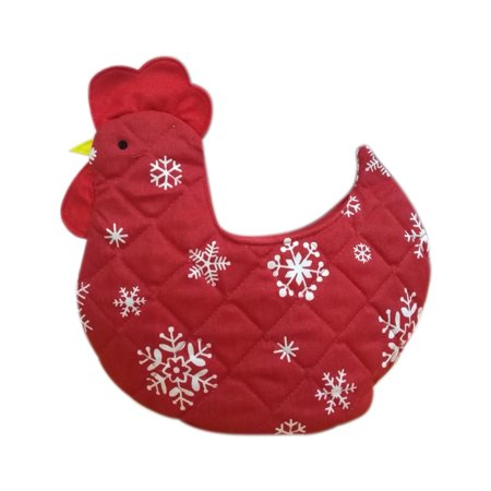 Organic Multipurpose Decorative Chicken Shaped Fabric Egg Basket - Red With White Stars Design