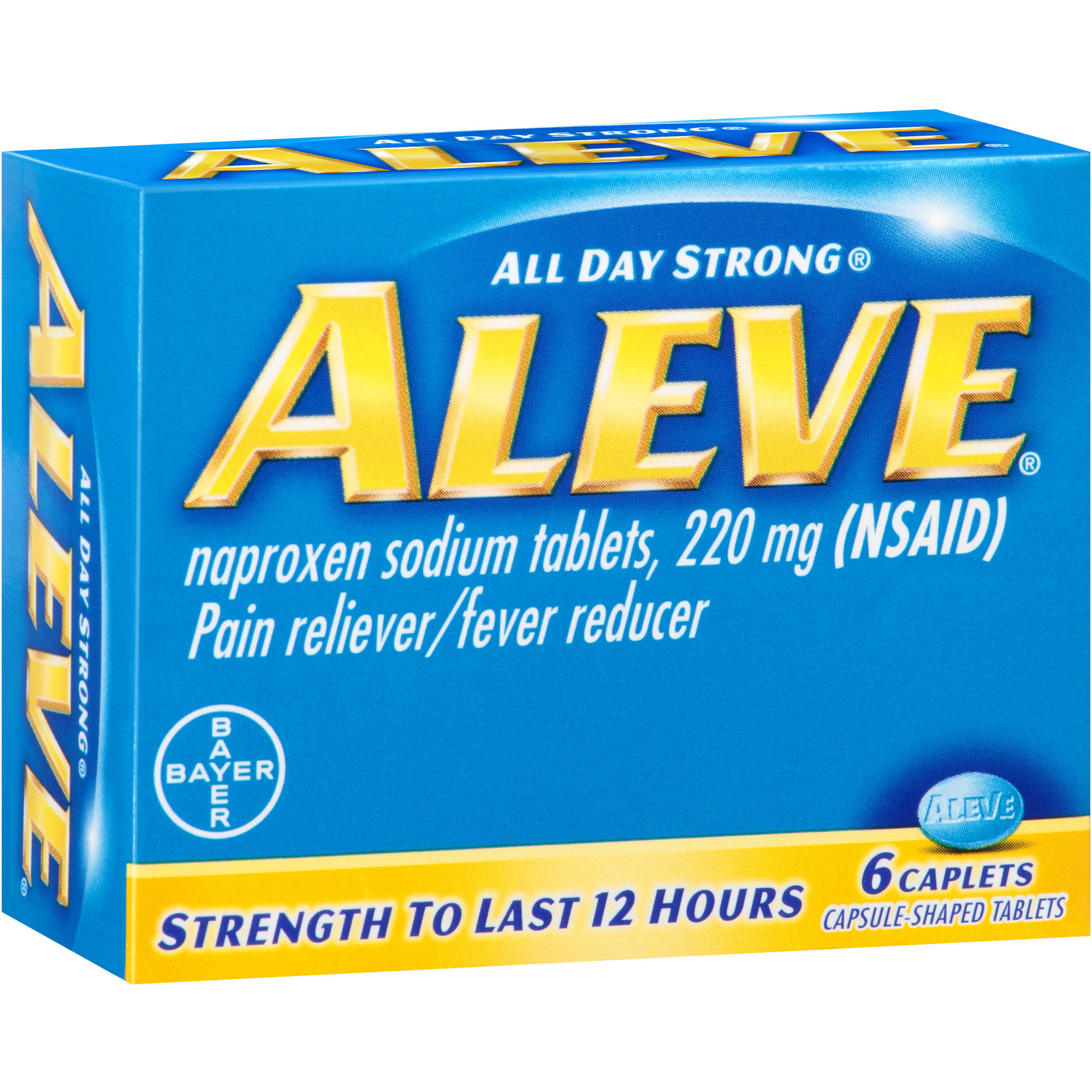 Aleve Naproxen Pain Reliever/Fever Reducer Caplets, 220mg, 6 count