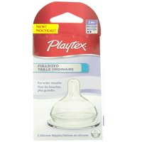Playtex Baby Full Sized Shape for Wider Mouths, BPA Free, 0-3M+ Slow Flow, 2 Silicone Nipples