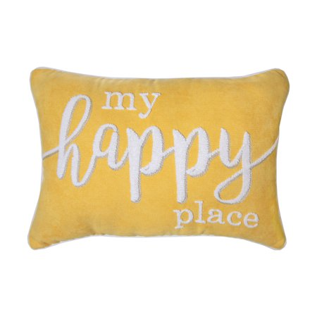 Better Homes and Gardens, My Happy Place Yellow Pillow ()