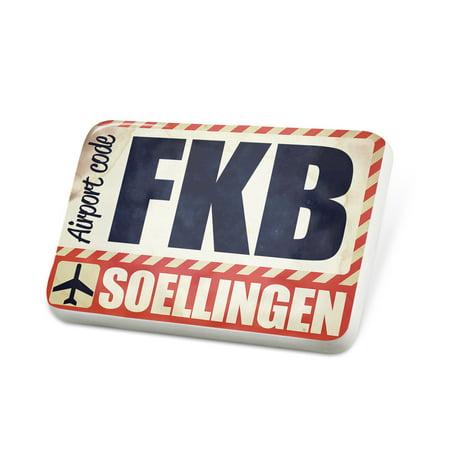 Porcelein Pin Airportcode Fkb Soellingen Lapel Badge   Neonblond