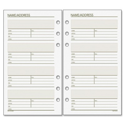 Day Runner Undated Telephone/Address Planner Page Refill DRN013230