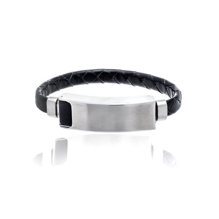 Braided Leather Bracelet in Stainless Steel with USB IPhone