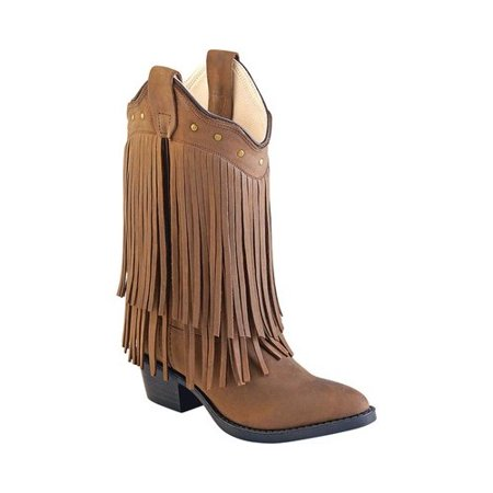 Old West Jama Corporation Boys  Brown Fringe Cowgirl Boots