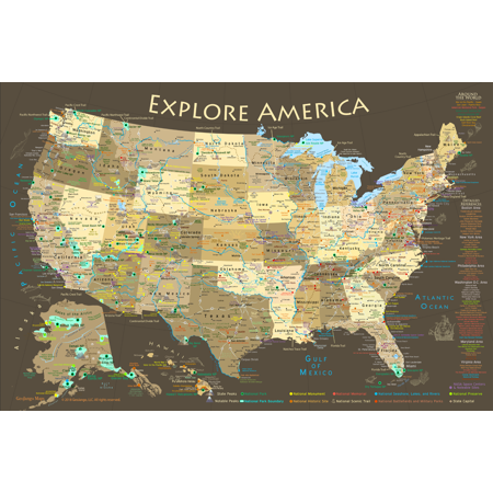 National Parks Map Poster (Sylvia Park Map)