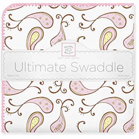 - SwaddleDesigns Ultimate Swaddle Blanket, Made in USA, Triplets Paisley, Pastel Pink