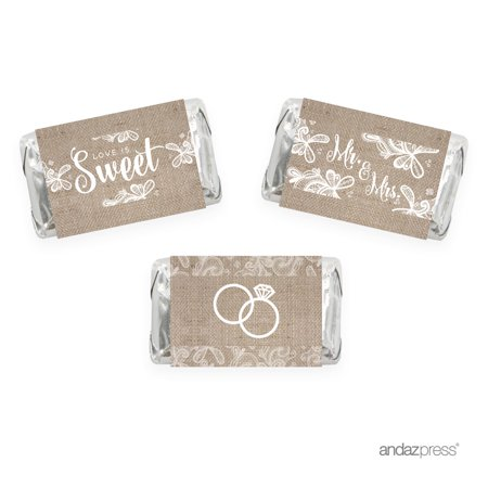 Burlap Lace Wedding Hershey´s Miniatures Mini Candy Bar Wrappers, 36-Pack