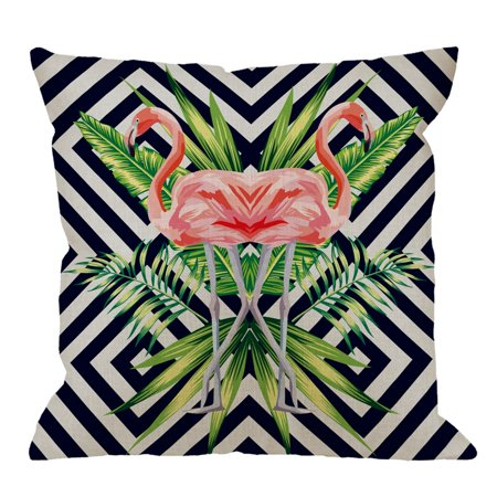 Fabricmcc Flamingo Pillow Cover Decorative Beautiful Bird Pink Flamingo with Tropical Banana Leaves Cotton Linen Square Pillow Case for Men/Women/18x18 inch Pink Black and White (Beautiful Bananas)